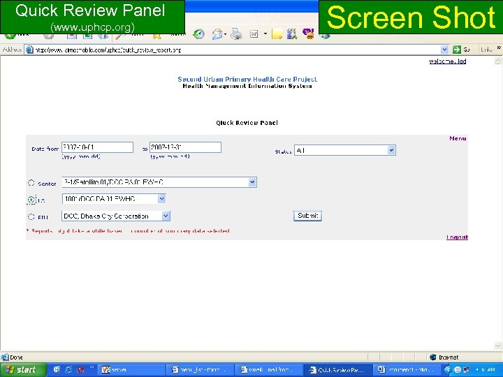 Screen Shot Quick Review Panel (www. uphcp. org) www. uphcp. org