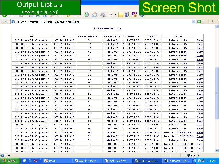 Screen Shot Output List cntd (www. uphcp. org) www. uphcp. org