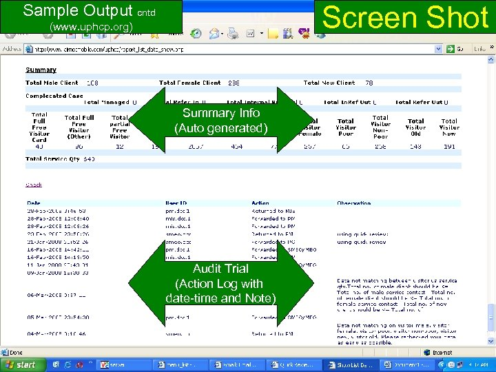 Screen Shot Sample Output cntd (www. uphcp. org) Summary Info (Auto generated) Audit Trial