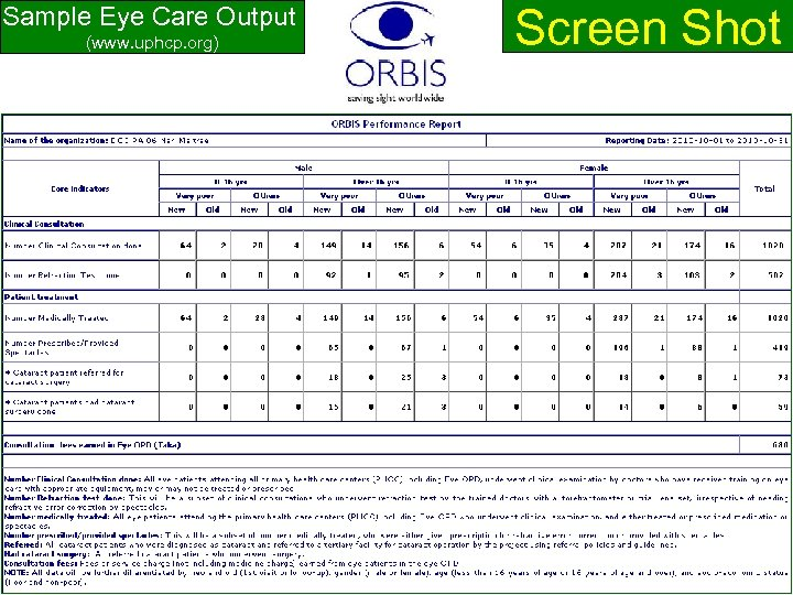 Screen Shot Sample Eye Care Output (www. uphcp. org) www. uphcp. org