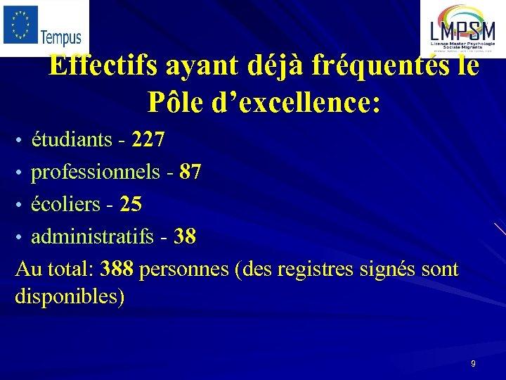 Effectifs ayant déjà fréquentés le Pôle d'excellence: • étudiants - 227 • professionnels -