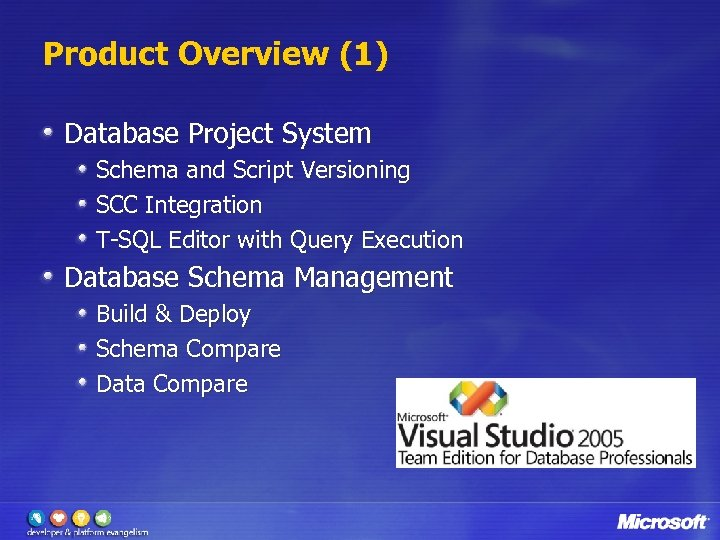 Product Overview (1) Database Project System Schema and Script Versioning SCC Integration T-SQL Editor