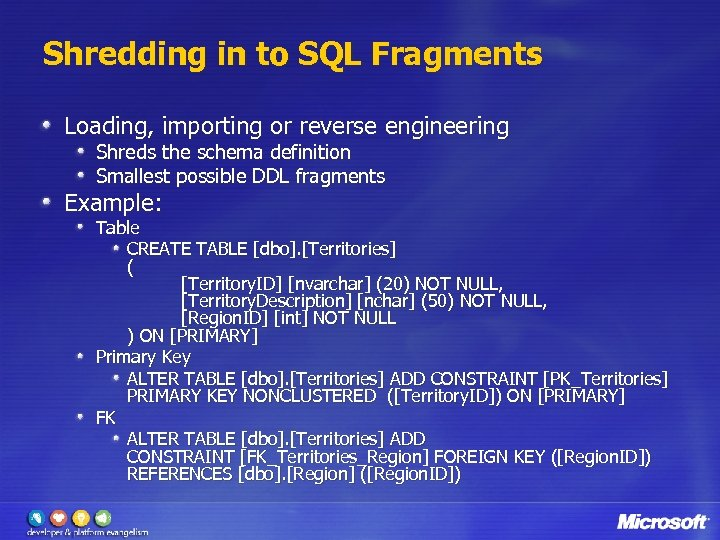 Shredding in to SQL Fragments Loading, importing or reverse engineering Shreds the schema definition