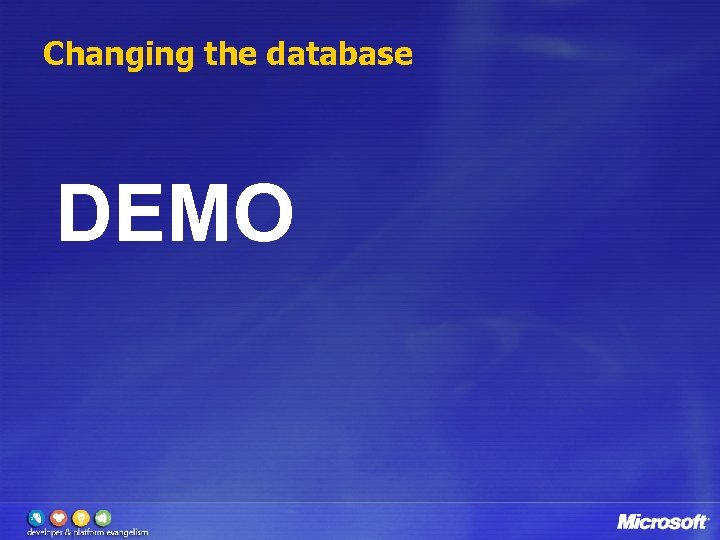Changing the database DEMO