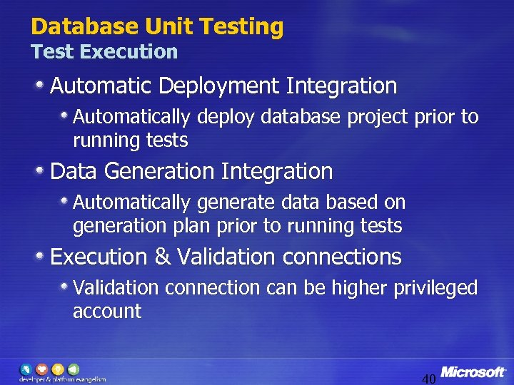 Database Unit Testing Test Execution Automatic Deployment Integration Automatically deploy database project prior to