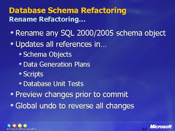 Database Schema Refactoring Rename Refactoring… Rename any SQL 2000/2005 schema object Updates all references