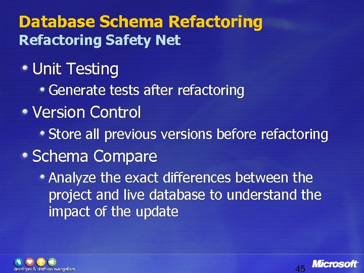 Database Schema Refactoring Safety Net Unit Testing Generate tests after refactoring Version Control Store
