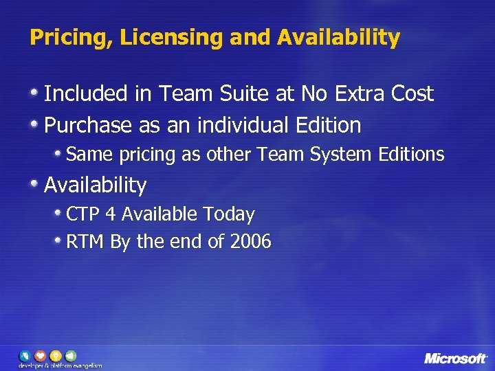 Pricing, Licensing and Availability Included in Team Suite at No Extra Cost Purchase as