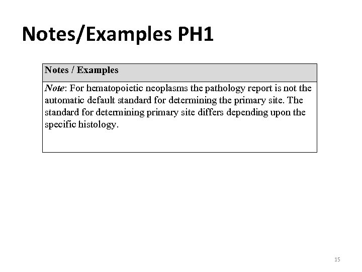 Notes/Examples PH 1 Notes / Examples Note: For hematopoietic neoplasms the pathology report is
