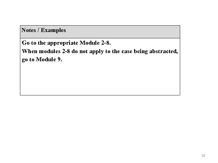 Notes / Examples Go to the appropriate Module 2 -8. When modules 2 -8