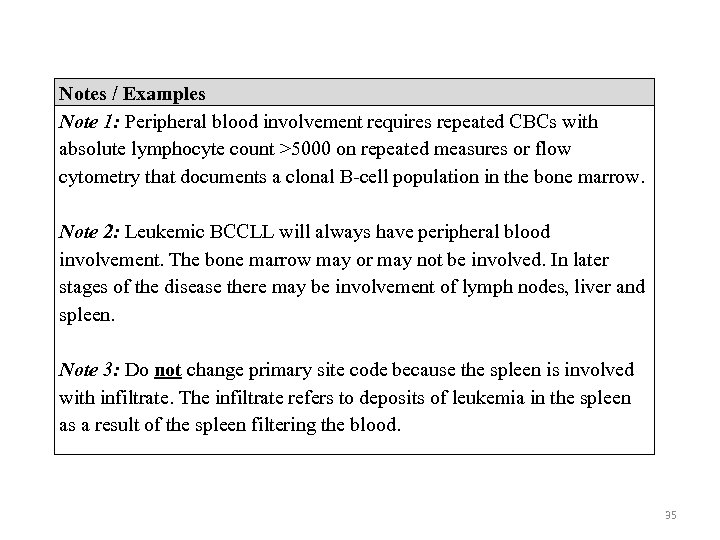 Notes / Examples Note 1: Peripheral blood involvement requires repeated CBCs with absolute lymphocyte