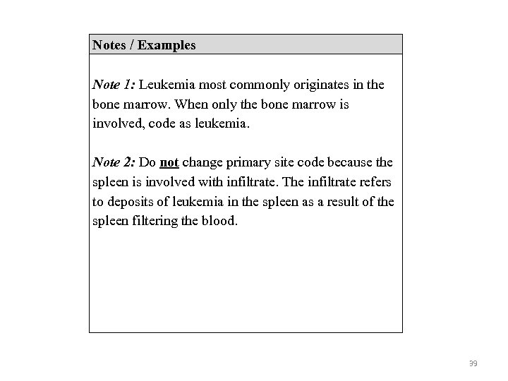 Notes / Examples Note 1: Leukemia most commonly originates in the bone marrow. When