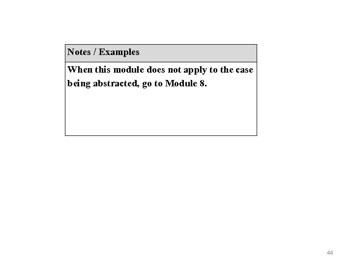 Notes / Examples When this module does not apply to the case being abstracted,