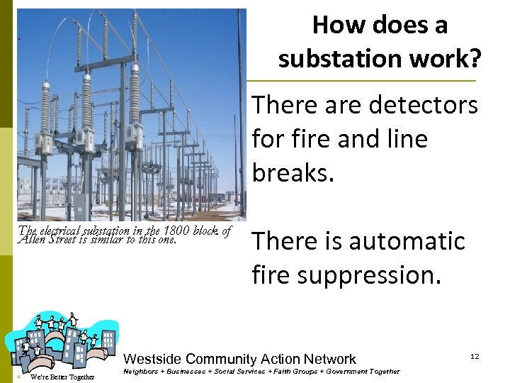 How does a substation work? . There are detectors for fire and line breaks.