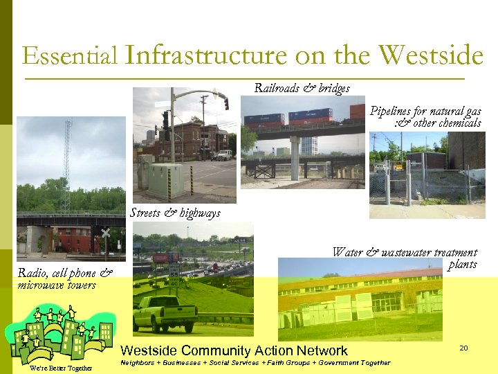 Essential Infrastructure on the Westside Railroads & bridges Pipelines for natural gas : &