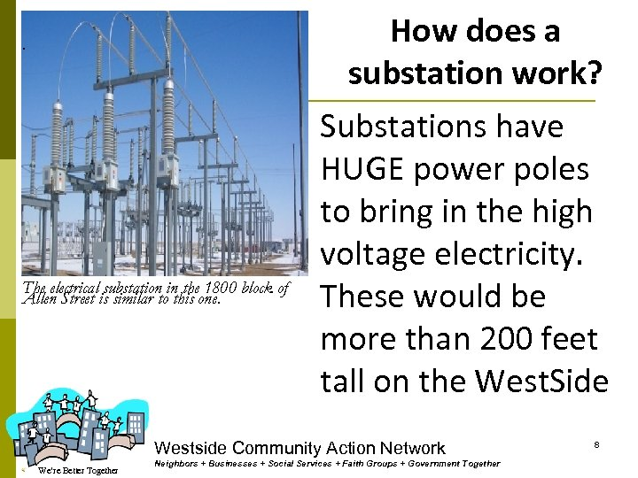 How does a substation work? . The electrical substation in the 1800 block of