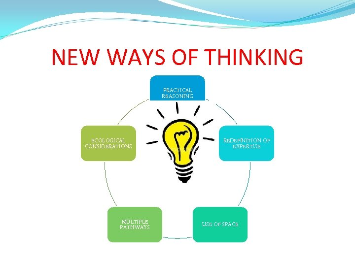 NEW WAYS OF THINKING PRACTICAL REASONING ECOLOGICAL CONSIDERATIONS MULTIPLE PATHWAYS REDEFINITION OF EXPERTISE USE