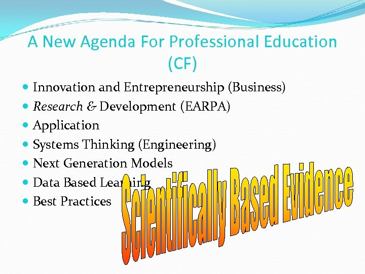 A New Agenda For Professional Education (CF) Innovation and Entrepreneurship (Business) Research & Development