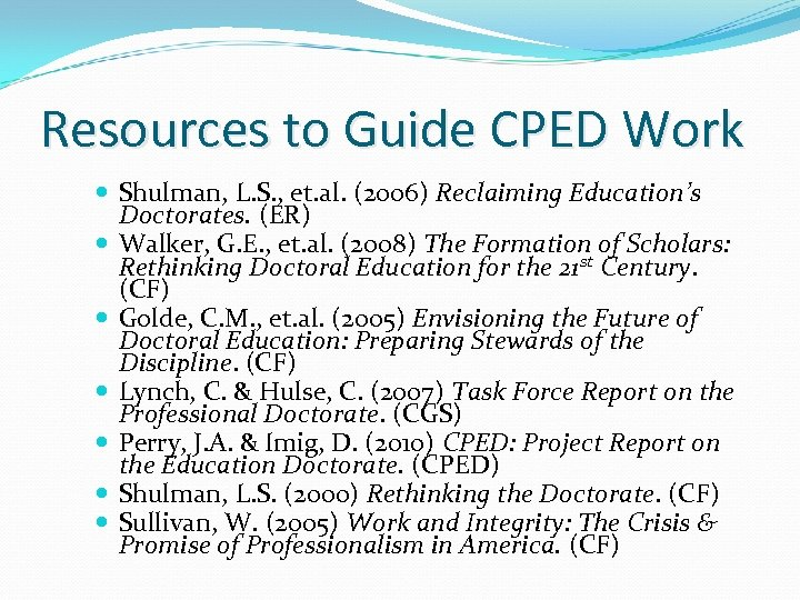Resources to Guide CPED Work Shulman, L. S. , et. al. (2006) Reclaiming Education's