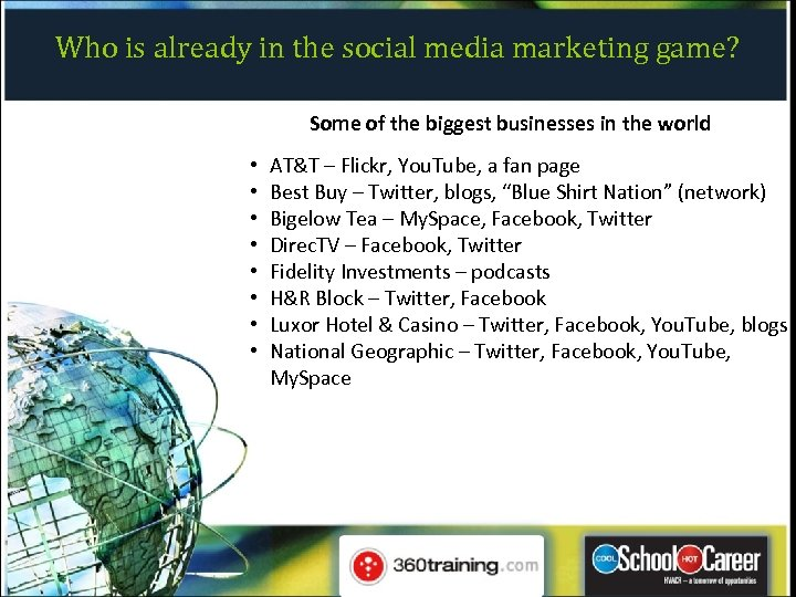 Who is already in the social media marketing game? Some of the biggest businesses