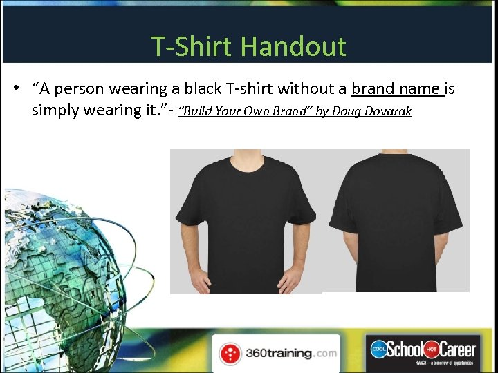 """T-Shirt Handout • """"A person wearing a black T-shirt without a brand name is"""