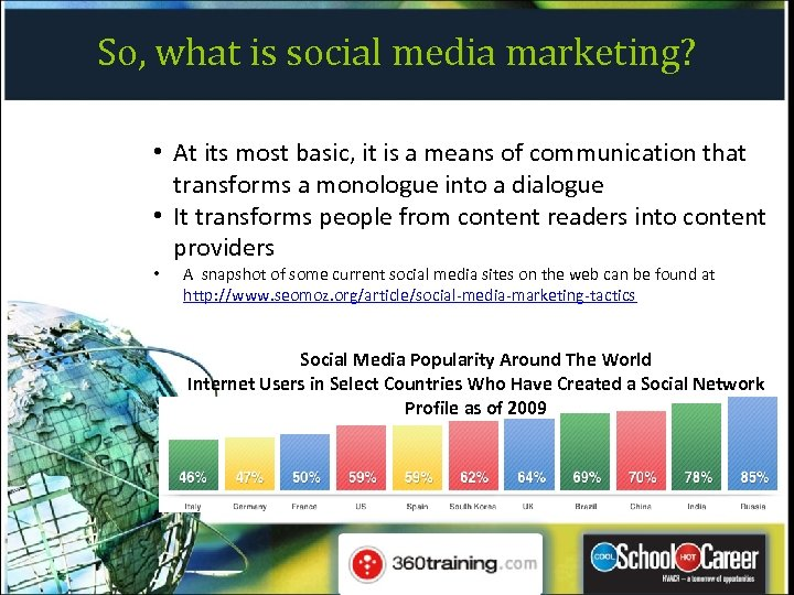 So, what is social media marketing? • At its most basic, it is a