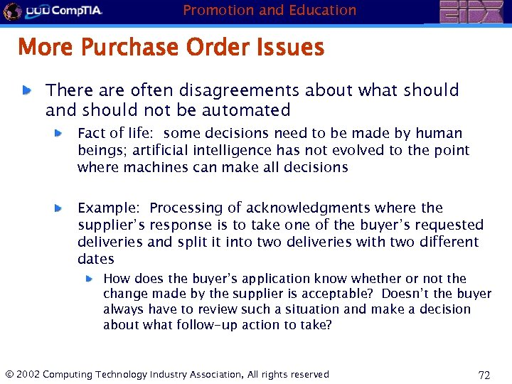 Promotion and Education More Purchase Order Issues There are often disagreements about what should