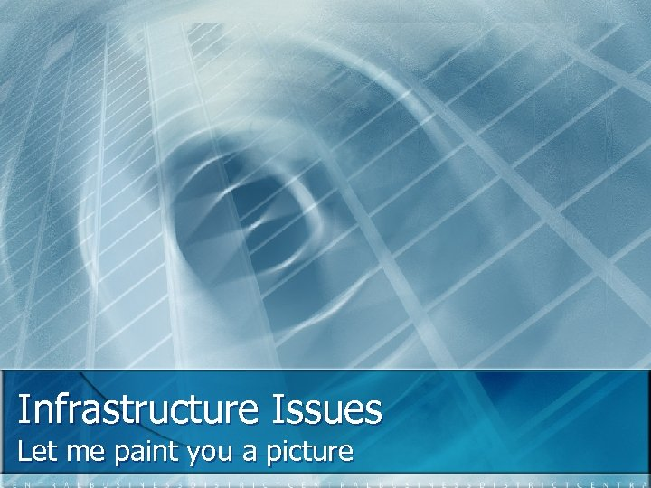 Infrastructure Issues Let me paint you a picture