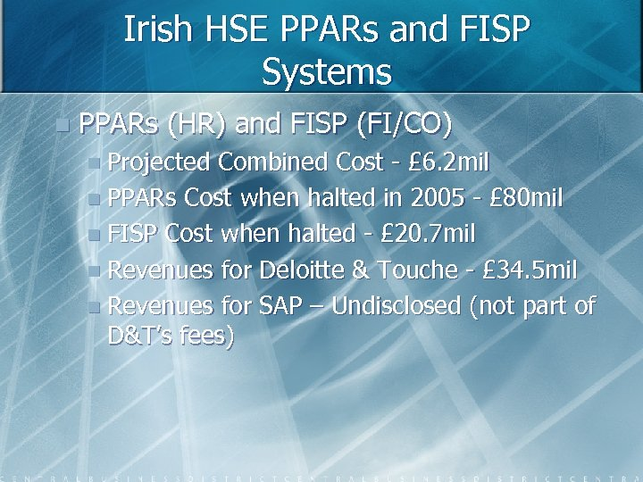 Irish HSE PPARs and FISP Systems n PPARs (HR) and FISP (FI/CO) n Projected