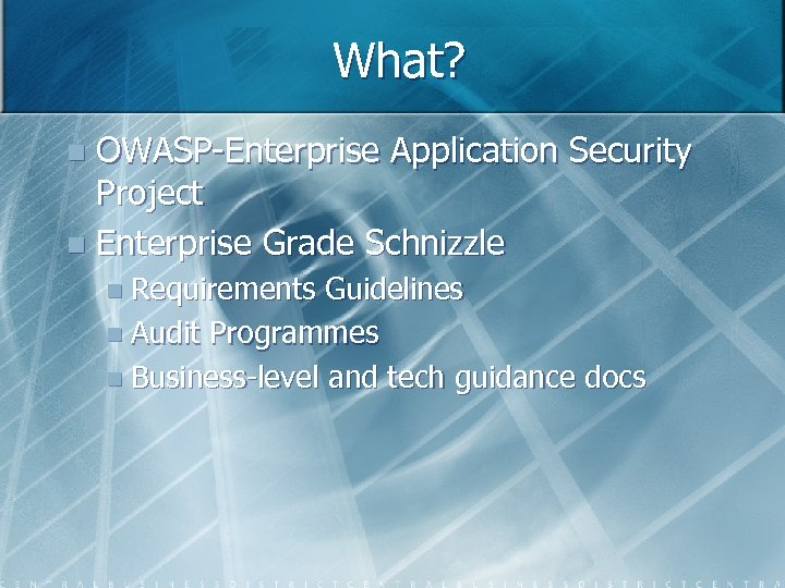 What? OWASP-Enterprise Application Security Project n Enterprise Grade Schnizzle n n Requirements Guidelines n