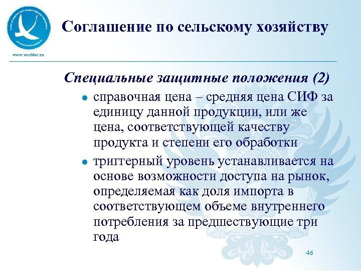 Соглашение по сельскому хозяйству www. worldec. ru Специальные защитные положения (2) l l справочная