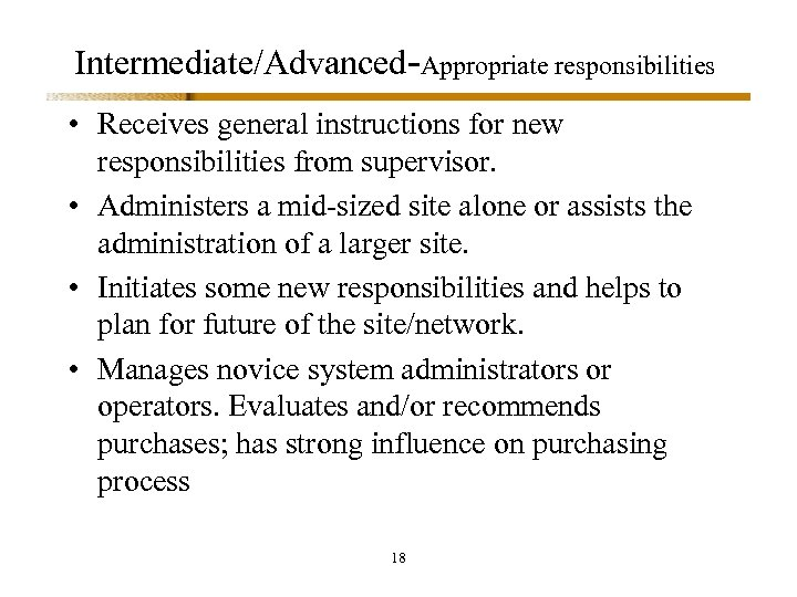 Intermediate/Advanced-Appropriate responsibilities • Receives general instructions for new responsibilities from supervisor. • Administers a
