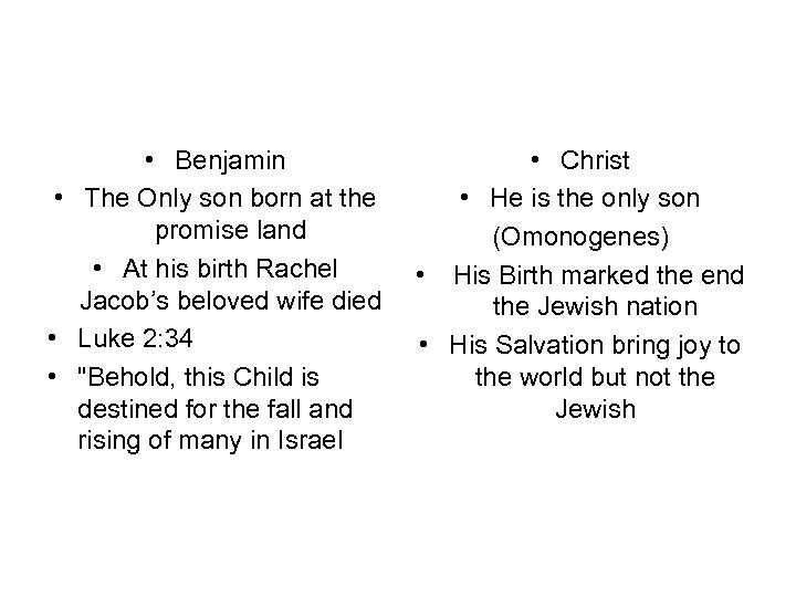 • Benjamin • The Only son born at the promise land • At
