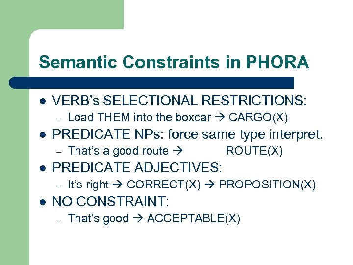Semantic Constraints in PHORA l VERB's SELECTIONAL RESTRICTIONS: – l PREDICATE NPs: force same