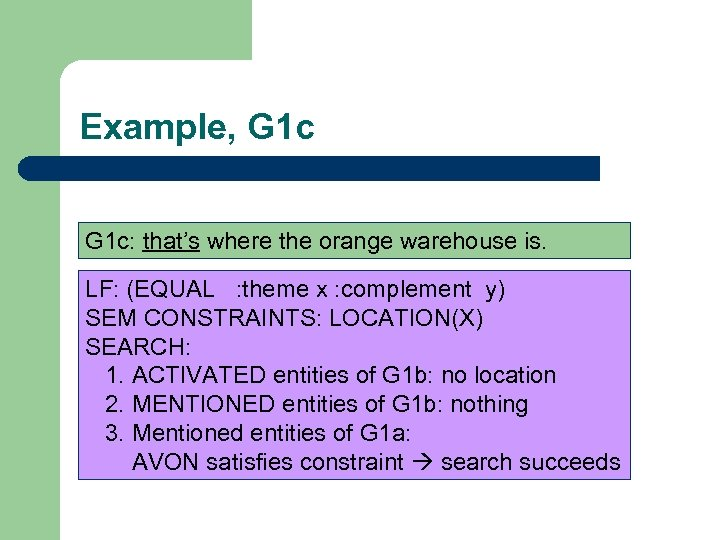 Example, G 1 c: that's where the orange warehouse is. LF: (EQUAL : theme