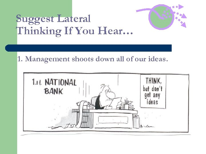 Suggest Lateral Thinking If You Hear… 1. Management shoots down all of our ideas.
