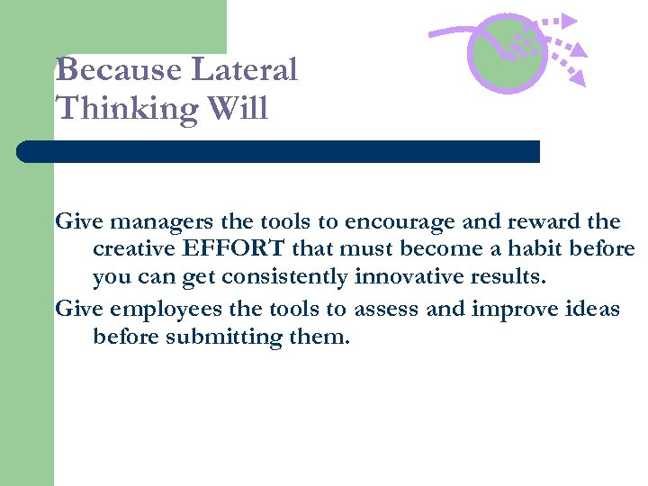Because Lateral Thinking Will Give managers the tools to encourage and reward the creative