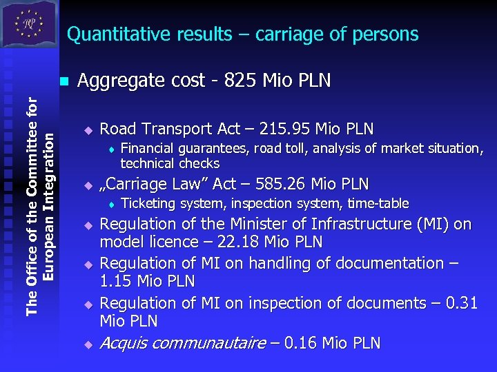 Quantitative results – carriage of persons The Office of the Committee for European Integration