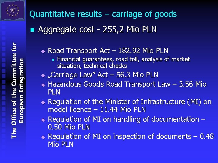 Quantitative results – carriage of goods The Office of the Committee for European Integration