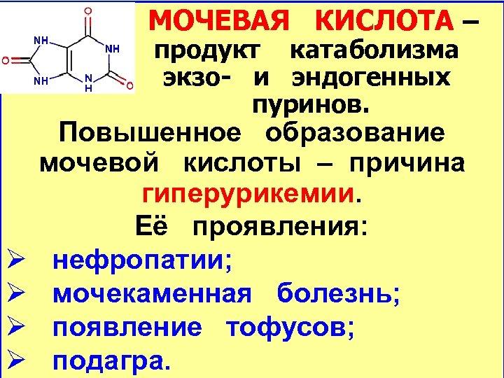 МОЧЕВАЯ КИСЛОТА – продукт катаболизма экзо- и эндогенных пуринов. Ø Ø Повышенное образование мочевой