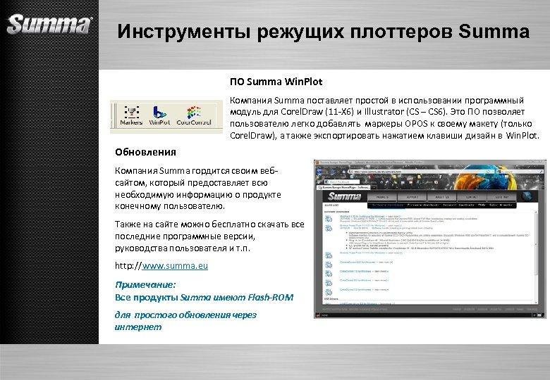 Инструменты режущих плоттеров Summa ПО Summa Win. Plot Компания Summa поставляет простой в использовании