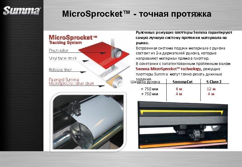 Micro. Sprocket™ - точная протяжка Рулонные режущие плоттеры Summa гарантируют самую лучшую систему протяжки