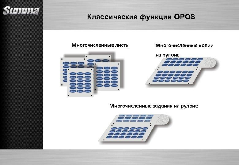 Классические функции OPOS Многочисленные листы Многочисленные копии на рулоне Многочисленные задания на рулоне