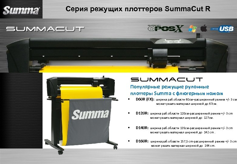 Серия режущих плоттеров Summa. Cut R Популярные режущие рулонные плоттеры Summa с флюгерным ножом
