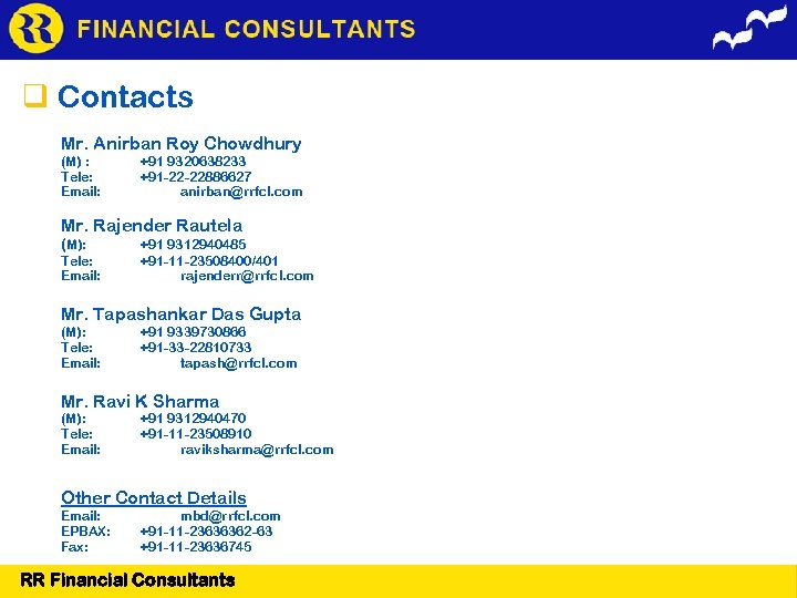 FINANCIAL CONSULTANTS Contacts Mr. Anirban Roy Chowdhury (M) : Tele: Email: +91 9320638233 +91