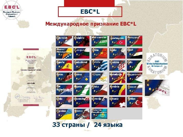 EBC*L Международное признание EBC*L 33 страны / 24 языка
