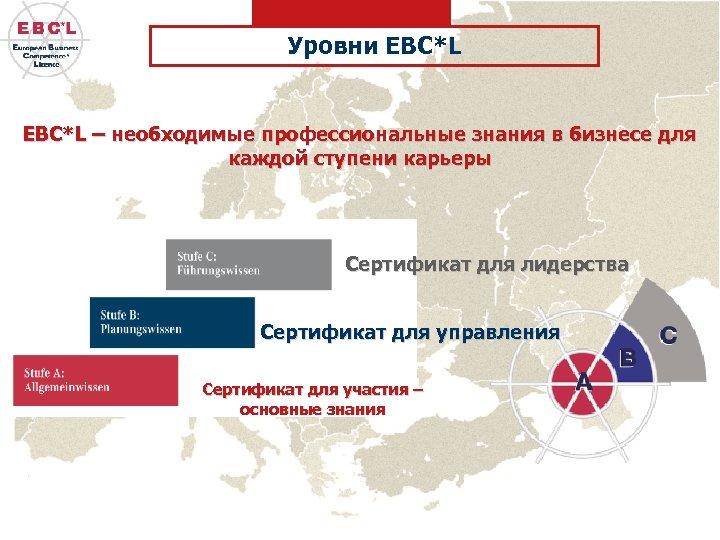 Уровни EBC*L – необходимые профессиональные знания в бизнесе для каждой ступени карьеры Сертификат для