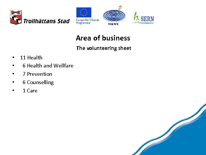 Area of business The volunteering sheet • 11 Health • 6 Health and Wellfare
