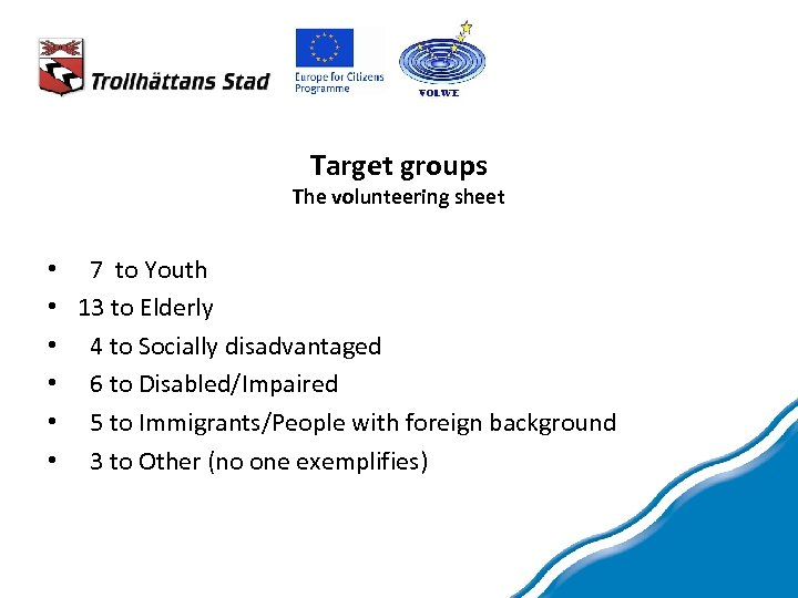 Target groups The volunteering sheet • 7 to Youth • 13 to Elderly •