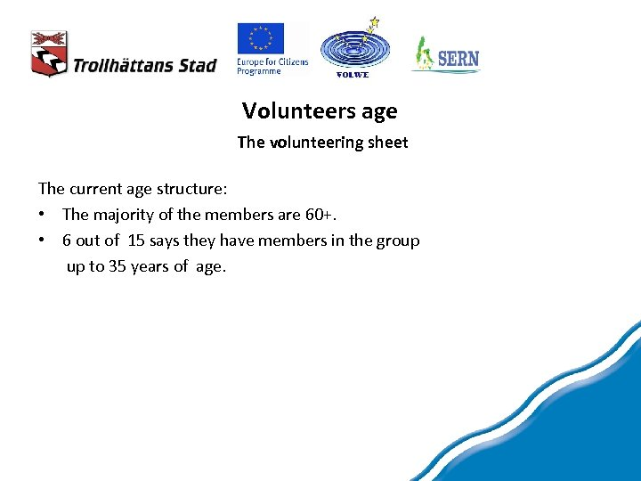 Volunteers age The volunteering sheet The current age structure: • The majority of the